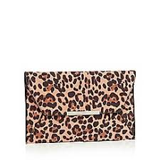 Faith - Multicoloured leopard print suedette  Party  envelope clutch bag