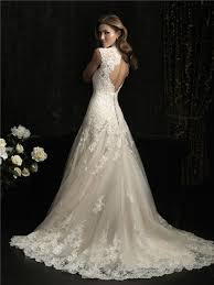 a line princess scallped neck ivory lace wedding dress keyhole