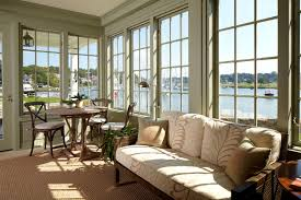 interior: Awesome View From Sun Room Desaign With L Glass Window In Grayish  Wall Paint