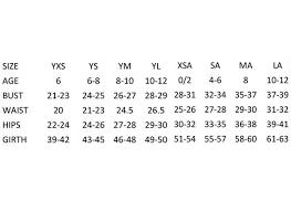 Yxs Size Chart Size Chart 5280 Dancewear