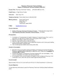 Cover Letter Sample Resume For Pharmacy Technician Training