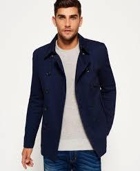superdry men s blue blockade bedford pea coat