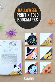 It has an orange background that makes it perfect to use in any halloween craft work. Print Fold Halloween Bookmarks Tutorial It S Always Autumn
