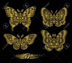 Stylised Golden Butterflies On Black Background Decorative Moth