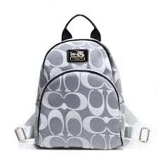Stylish Coach Logo Monogram Small Grey Backpacks Fcj Online hFylI