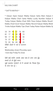 Matka Pana Chart Satta143 Matka Kalyan Chart Satta Matka Kalyan Open