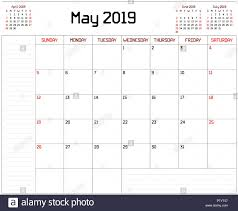 A Monthly Planner Calendar For May 2019 On White Background