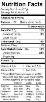 a standard nutrition label