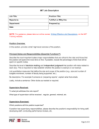 Directions Template Mit Job Description Template With Directions
