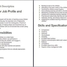 Preschool Teacher Job Duties For Resume Substitute Preschool Teacher Job Description Job Description With 3
