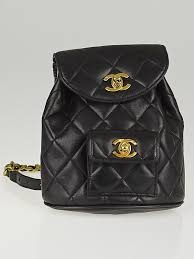 Chanel Vintage Black Quilted Lambskin Leather Mini Backpack Bag ... & Chanel Vintage Black Quilted Lambskin Leather Mini Backpack Bag Adamdwight.com