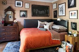 Black Leather Corner Headboard For Queen Bed With Orange Cover And Wall  Picture Frame Decoration Ideas ...