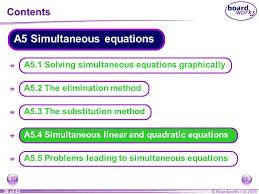 a5 4 simultaneous linear and quadratic equations
