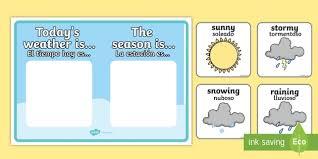 Weather And Season Display Posters English Spanish Weather