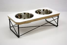 metal dog feeder elevated bowl pet mid century modern bowls il full