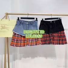 Designer Plaid Skirt 2019 19 Women Fashion Luxury Designer Plaid Print Mini A Line Pleated Skirt Girls Letter Print Skirt Runway Skirts Female Mini Dress Denim Skirt From