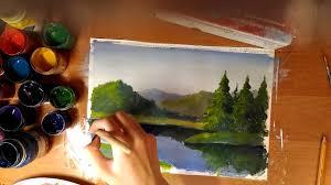 Рисуем <b>горный пейзаж</b>.Гуашь - YouTube