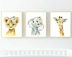 3 Jungle Animals <b>Pink</b> Flowers Nursery Prints <b>Lion Giraffe Elephant</b> ...
