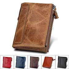 details about men rfid blocking wallet small vintage crazy horse leather short purse bifold