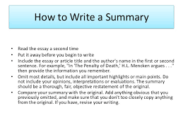 essay outline how to write a summary• the essay