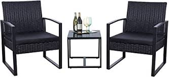 Flamaker 3 Pieces Patio Set Outdoor Wicker Patio Furniture Sets Modern Bistro Set Rattan Chair Conversation Sets With Coffee Table For Yard And Bistro Black Garden Outdoor