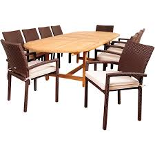extension table f: amazonia hillside  person resin wicker patio dining set with teak extension table ultimate patio