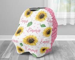 polka dot sunflower infant seat cover