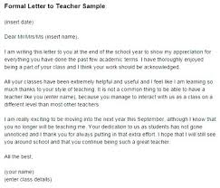teacher appreciation letter from principal letter for teacher formal letter sample for a teacher thank you