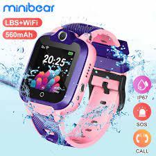 Minibear çocuklar akıllı saat IP67 su geçirmez akıllı saat için çocuk  telefonu izle 2G SIM kart SOS izle doğum günü hediyesi için kız erkek Akıllı  Saatler