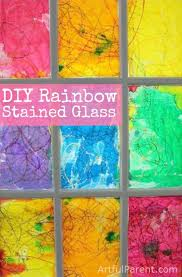 diy faux rainbow stained glass window that is easy to make and will surely brighten up