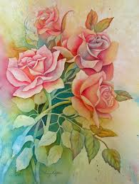 watercolor painting of roses done in a negative painting technique