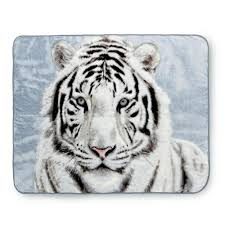 high pile white tiger raschel knit throw