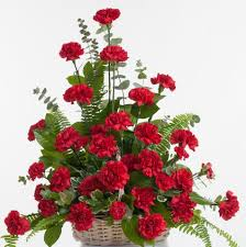 standard flower size red carnation floor basket stadium flowers