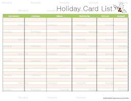 Christmas Card List Template Printable Card List Organizer Email Marketing Templates