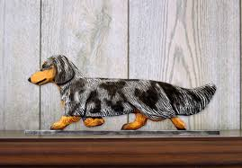 dachshund long hair dog figurine sign plaque display wall decoration blue dapple 400721990421 jpg