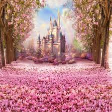 Cherry Blossom Backdrop Us 18 75 25 Off Princess Girl Fairytale Party Backdrop Vinyl Printed Pink Cherry Blossoms Flower Trees Petals Rainbow Castle Photo Backgrounds In