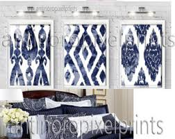 watercolor ikat dark navy blue white wall art picture set includes 3 16x20 prints unframed 248975895 on blue and white wall art with watercolor ikat navy blue white digital print wall art prints