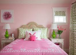 Pink And Green Girls Room With Gray Nightstands Contemporary