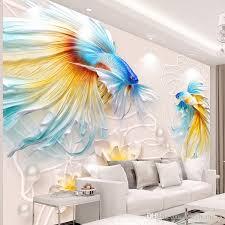 tv wall wallpaper 3d 3d living room wallpaper bedroom seamless wall cloth non woven wall painting fish cartoon wallpaper cartoon wallpapers from
