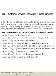 Top 8 customer service supervisor resume samples In this file, you can ref  resume materials ...