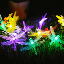 outdoor fairy lighting. 20 LED Dragonfly String Lights Solar Powered Outdoor Fairy Light Garden Decor Lighting S