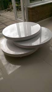 sold dwell triplo round gloss swivel coffee table white