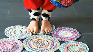 Fabric Rug Diy How To Sew A Circle Rug From Fabric Rope Diy Home Tutorial