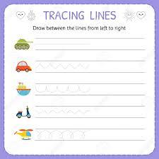 Writing Lines For Kindergarten Draw Between The Lines From Left To Right Preschool Kindergarten