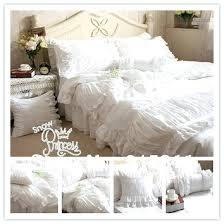 queen size white bedding luxury handmade pleated lace white bedding set king queen size satin ruffle queen size white bedding