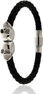 New Unisex Braided Black Leather Skull Bracelet ... - Amazon.com