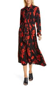 Paisley Bow Neck Long Sleeve Midi Dress