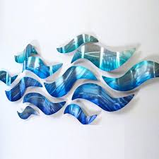 blue metal wall decor