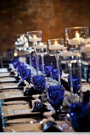 Great way to add a dash of color - cobalt blue water glasses for wedding  table