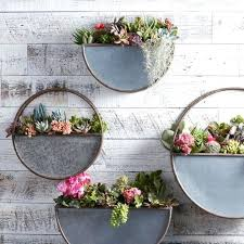 metal wall planters small half circle galvanized planter house plants nz